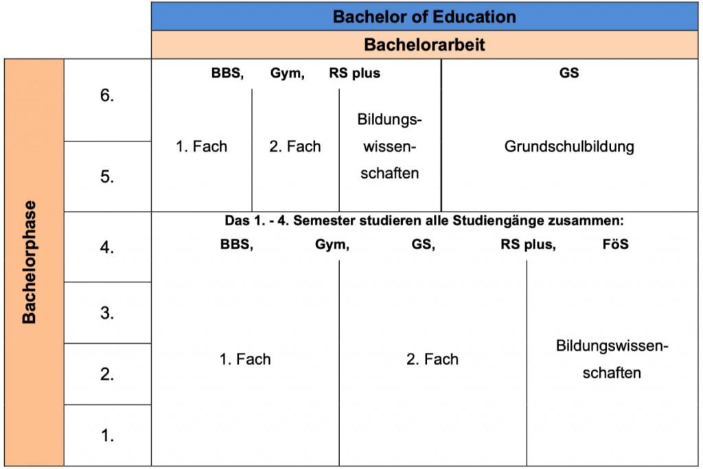 Struktur des Lehramtsstudiums (BA)