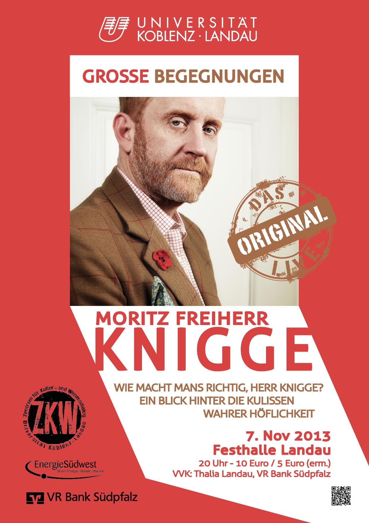 Fragen des zwischenmenschlichen Umgangs wird Moritz Freiherr Knigge am Donnerstag, 7. November, in der Landauer Festhalle beantworten.