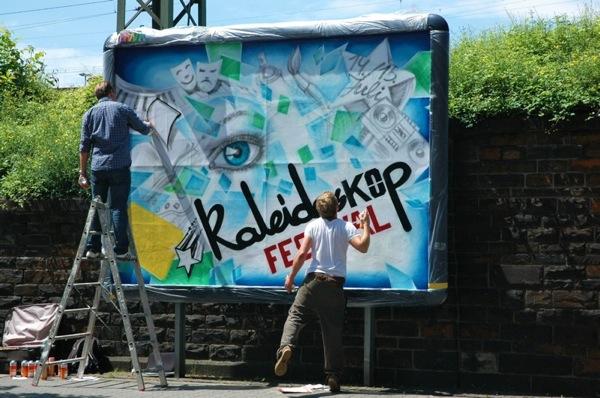 Zum kaleidosKOp Festival 2012 wurden Werbewände in der Koblenzer Innenstadt selbst gestaltet. Foto: Privat