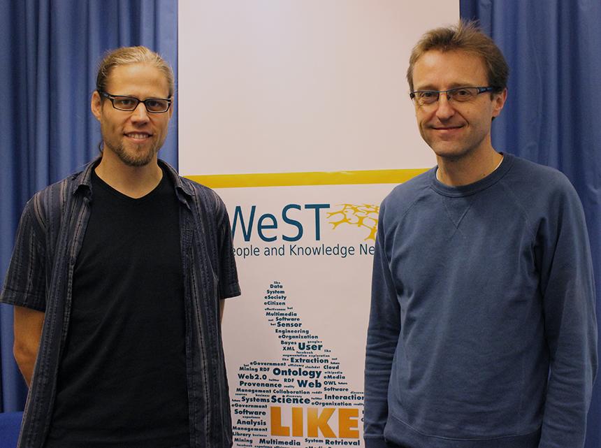 Rene Pickhardt (links) und Steffen Staab (rechts) sind die beiden treibenden Kräfte hinter dem MOOC. Foto: Adrian Müller