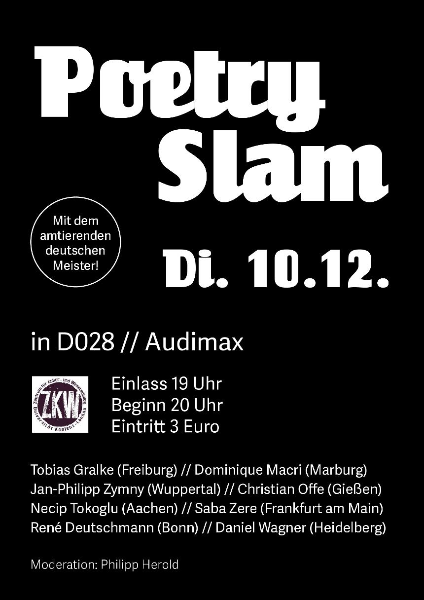 Auch der amtierende Deutsche Meister Jan-Philipp Zymny aus Wuppertal besucht Koblenz während des Poetry Slams am 10. Dezember.