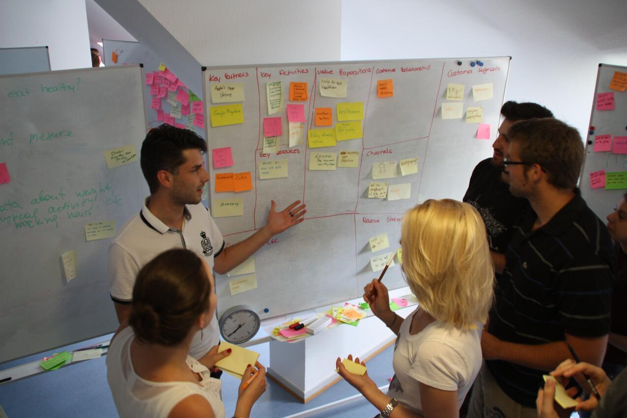 Schon weit fortgeschritten im Prozess: Ein Team stellt seinen Businessplan auf.