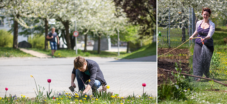 Studentin setzt Pflanzen für den Frühling