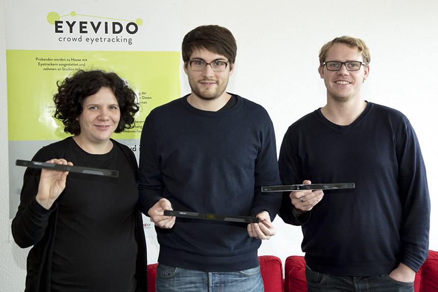 Das Team von Eyevido (Tina Walber, Christoph Schaefer und Matthias Kuich, v.l.n.r.)macht Wahrnehmungsanalyse und Werbung effizienter. Foto: Adrian Müller