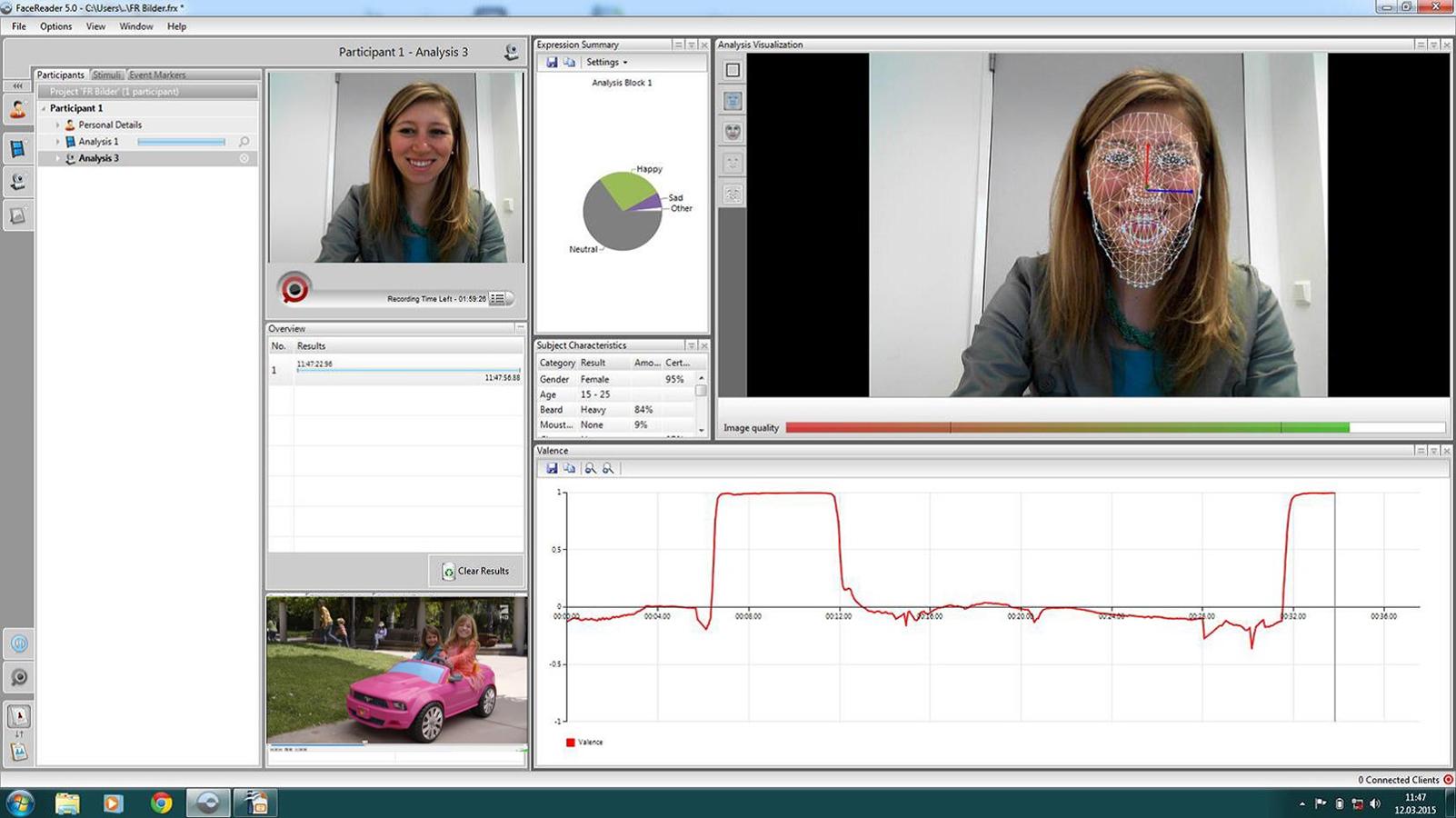 Der FaceReade ist eine Software, die emotionale Gesichtsausdrücke erkennen und klassifizieren kann.