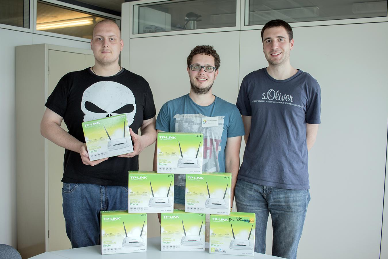Patrick Esser, Elias Zervudakis und Norbert Härig (von links) bilden den Vorstand der Freifunk Hochschulgruppe.