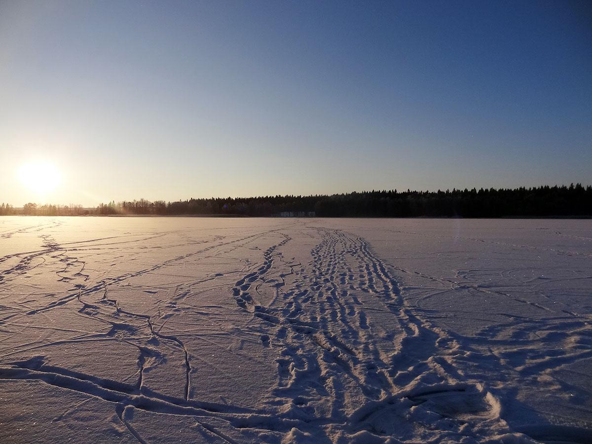 Eisige Temperaturen und Schneelandschaften im schwedischen Winter.